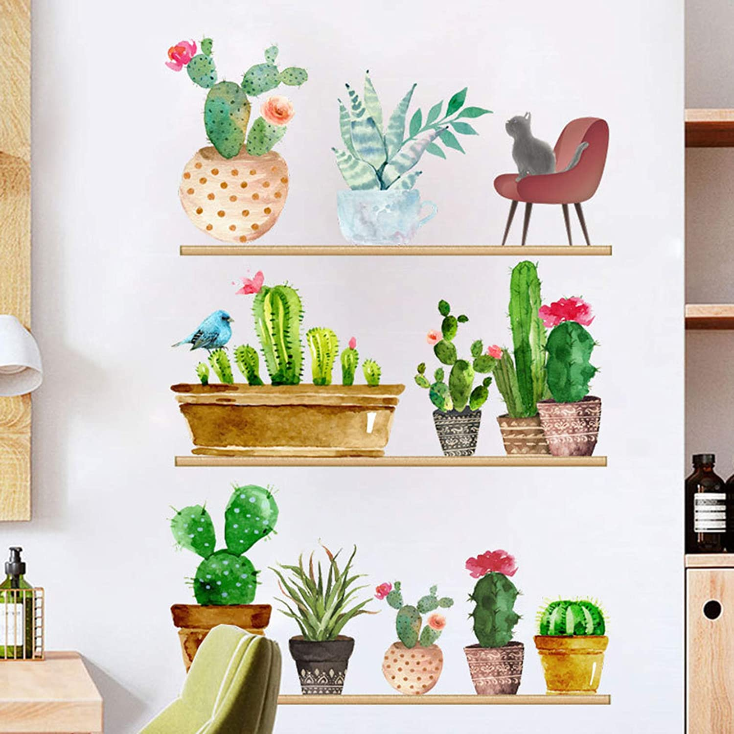 Poorminer Green Plant Wall Decal, Bonsai Cactus Wall Stickers,Watercolor Flower Potted Wall Mural Removable Sticker for Bedroom,Peel and Stick Home Art for Living Room Nursery Children Kids Room Decor