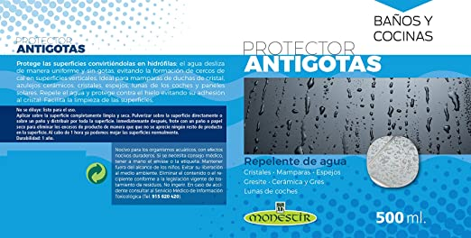 MONESTIR Protector ANTIGOTAS Repelente de Agua Cristales, mamparas, Espejos (500 ML): Amazon.es: Bricolaje y herramientas