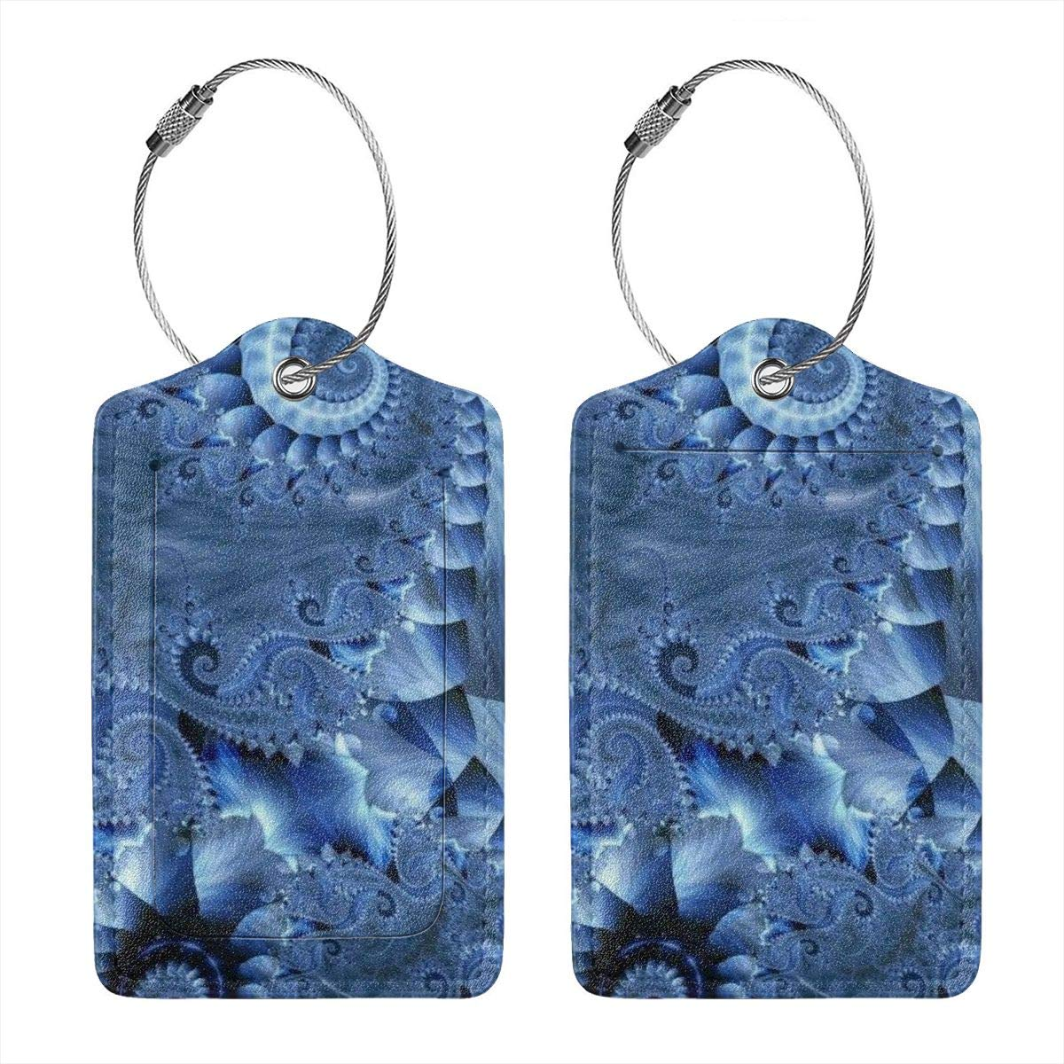 Beautiful Fractal Octopus Luggage Tag Label Travel Bag Label With Privacy Cover Luggage Tag Leather Personalized Suitcase Tag Travel Accessories