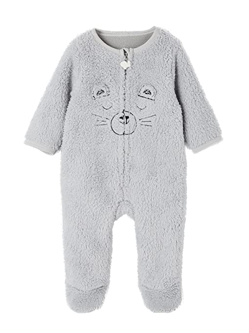VERTBAUDET Sobrepijama para bebé con tacto de pelo sintético Azul Marino 1M - 54CM: Amazon.es: Bebé