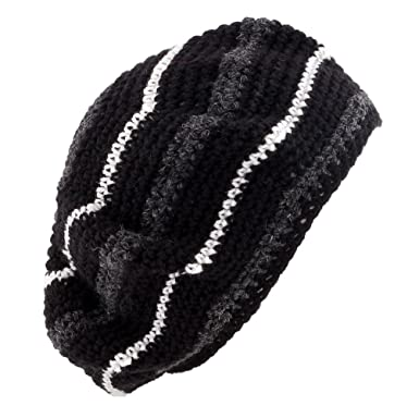 ad4a1294 Image Unavailable. Image not available for. Color: POM London Crochet Tam  Beret Hat: Black ...