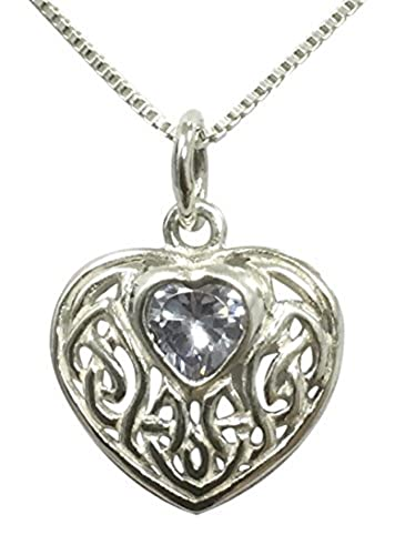 Sterling Silver Celtic Knotwork Heart-Shaped Birthstone Necklace - Alexandrite Cubic Zirconia - June - Gift Boxed fV6iN6S