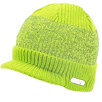Mizuno 2016 M15 Peaked Golf Beanie Thermal Winter Warm Knitted Mens Golf Hat  Lime Punch 0dadd6fcde5