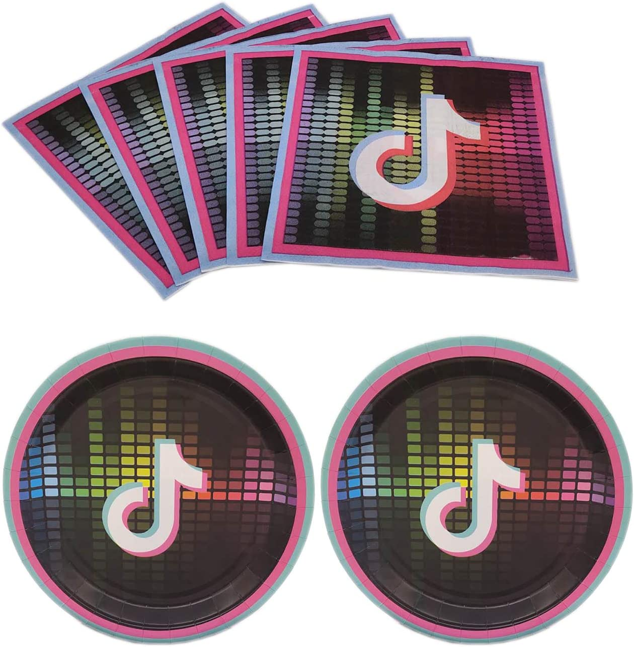 20 Guest AMZPTBOY TIK Tok Party Supplies,1 Pack TIK Tok Party Tablecloth,20 Plates,20 Napkin,Perfect for TIKTOK Music Theme Birthday Party Supplies Decoration and Baby Shower