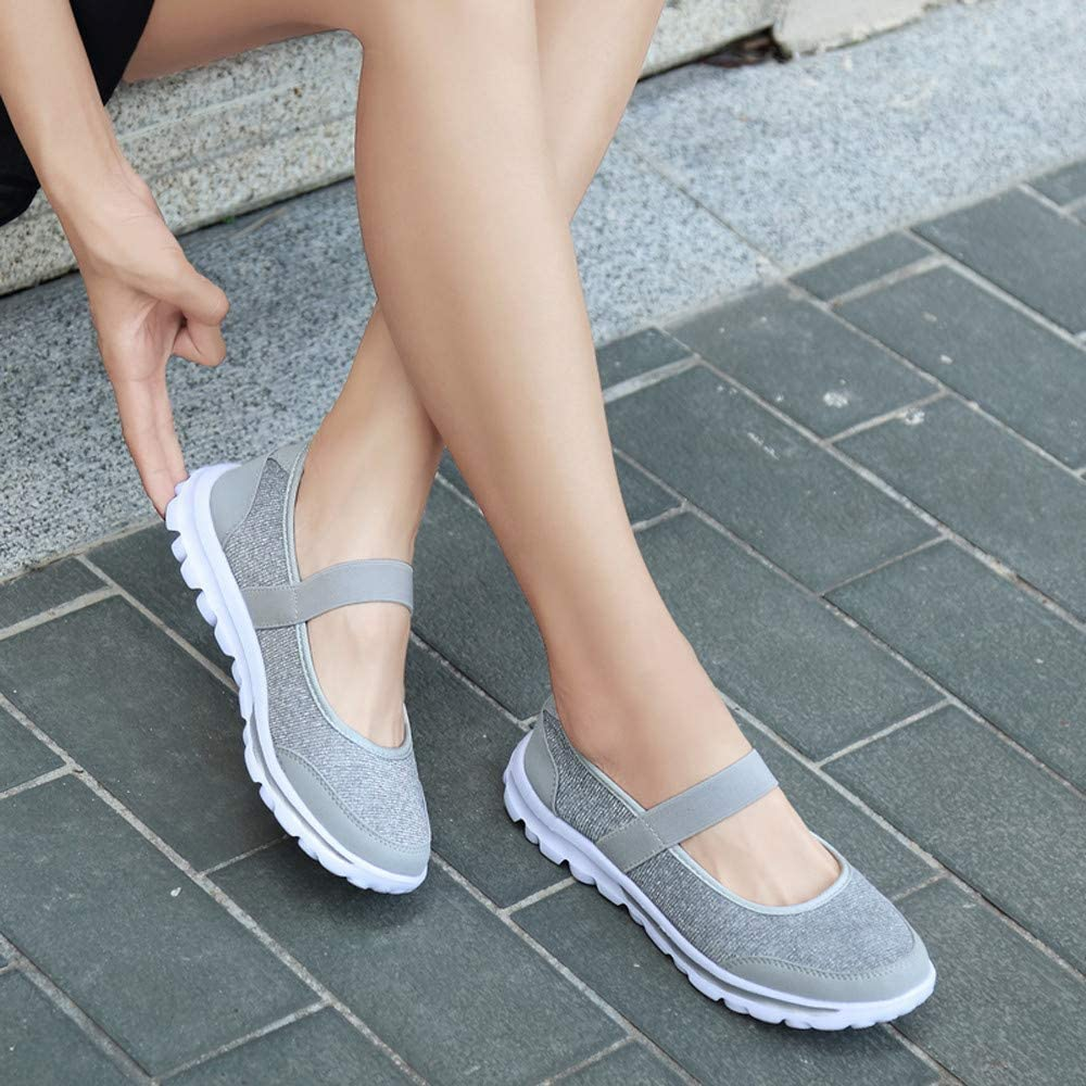 Mocassins Femme, Chaussures à Fond Mou Chaussures en Tissu Respirant Casual Chaussures Chaussures Bateau de Sport BaZhaHei Gris