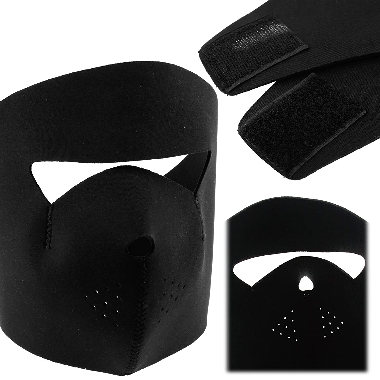 ENET Pair of Motorcycle Bike Cycling Skull /& Black Neoprene Reversible Full Face Mask