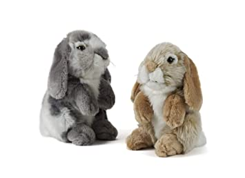 Living Nature Soft Toy Plush Pet Sitting Lop Eared Rabbit One Supplied 19cm