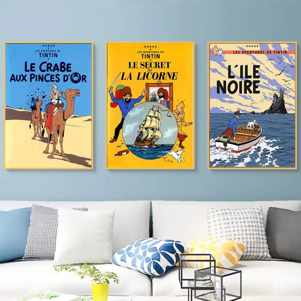 HMOTR Camel Desert Tintin Adventure Comics Cartoon Retro Vintage Classic Poster Canvas Painting Art Wall Sticker Bar Decoración para el hogar Regalo-40x50cmx3pcs_No_Frame
