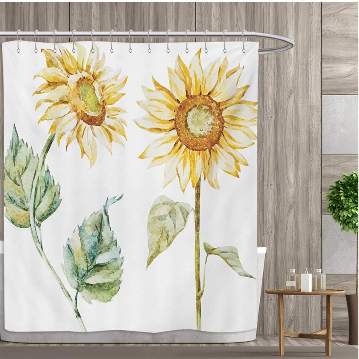 smallfly Watercolor Shower Curtains with Shower Hooks Alluring Sunflowers Summer Inspired Design Agriculture Fabric Bathroom Set with Hooks 108''x72'' Earth Yellow Pale Yellow Fern Green