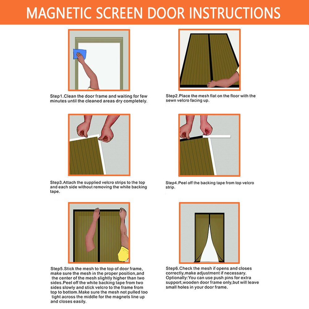 LJNH Magnetic Screen Door with Heavy Duty Mesh Curtain and Full ...