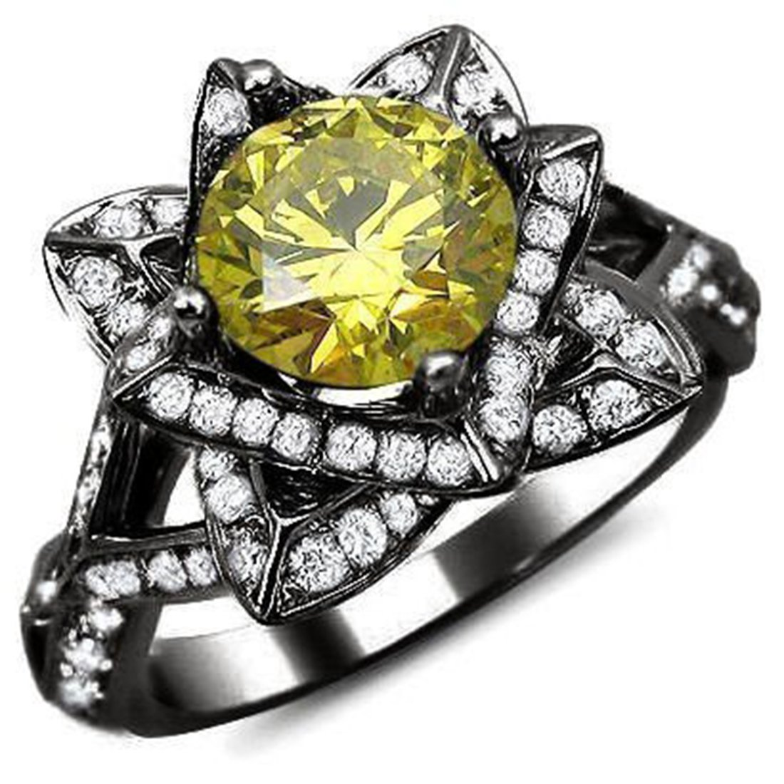 Smjewels 2.01 Ct Yellow Round Sim.Diamond Lotus Flower Engagement Ring 14K Black Gold Plated