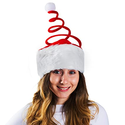 ddee8b032f6a3 Santa Hat With Coil Spring - Unconventional Creative Santa Hat With Coil  Spring  Amazon.in  Toys   Games
