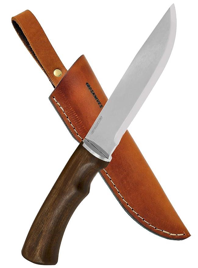 Camp Bushcraft Knife With Leather Sheath - Large Handmade Outdoor Fixed Blade Stainless Steel Camping Knife - EDC Razor Sharp Scandi Grid - Hard Wood ...