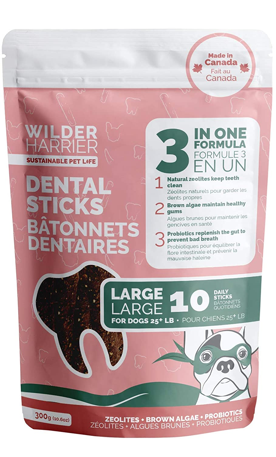 Wilder Harrier Dog Dental Treats 3 in 1 Formula with Zeolites, Probiotics and Brown Algae (Small) | Natural zeolites keep teeth clean | Brown algae maintain healthy gums | Probiotics replenish the gut to prevent bad breath