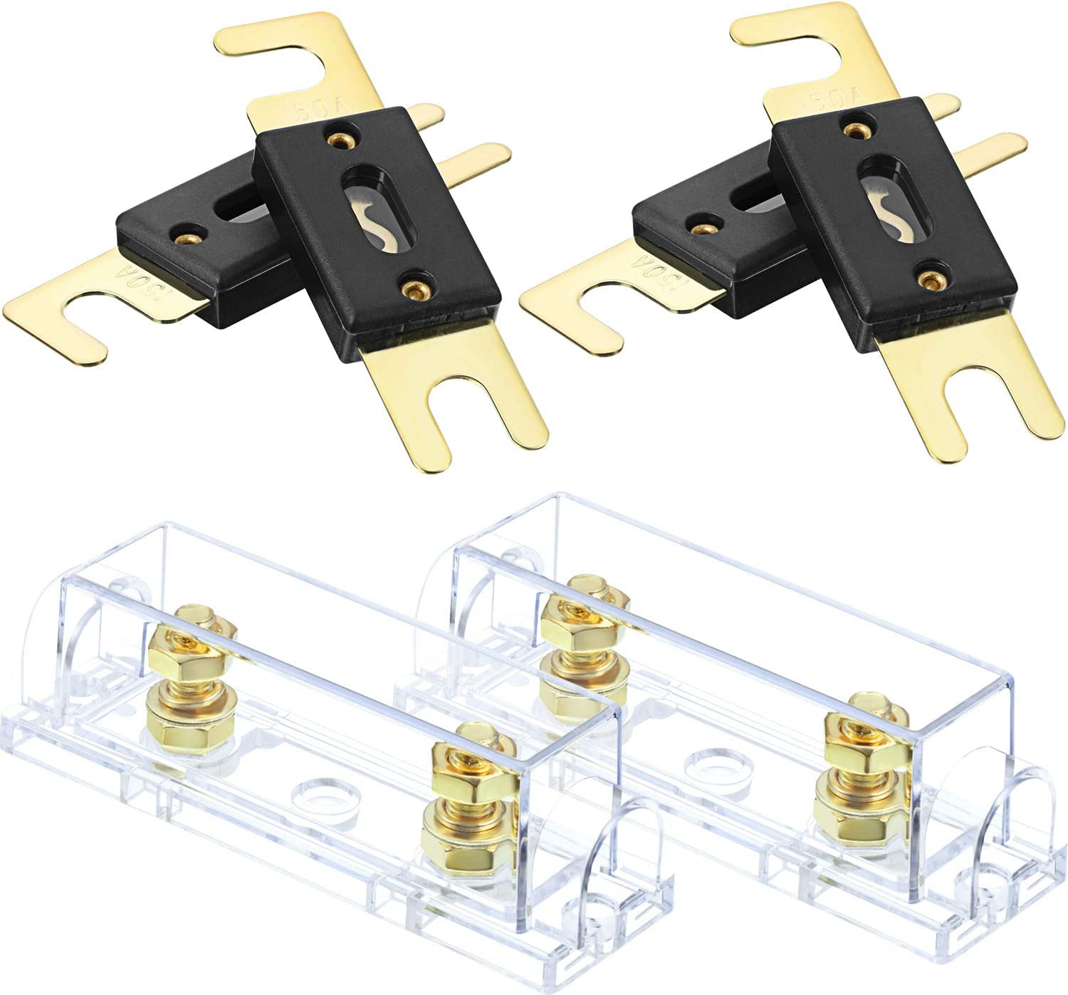 2 Sets Car Audio Video ANL Fuse Holder Solid Brass 0//2//4 Gauge with 2 Pieces Spare ANL Fuses