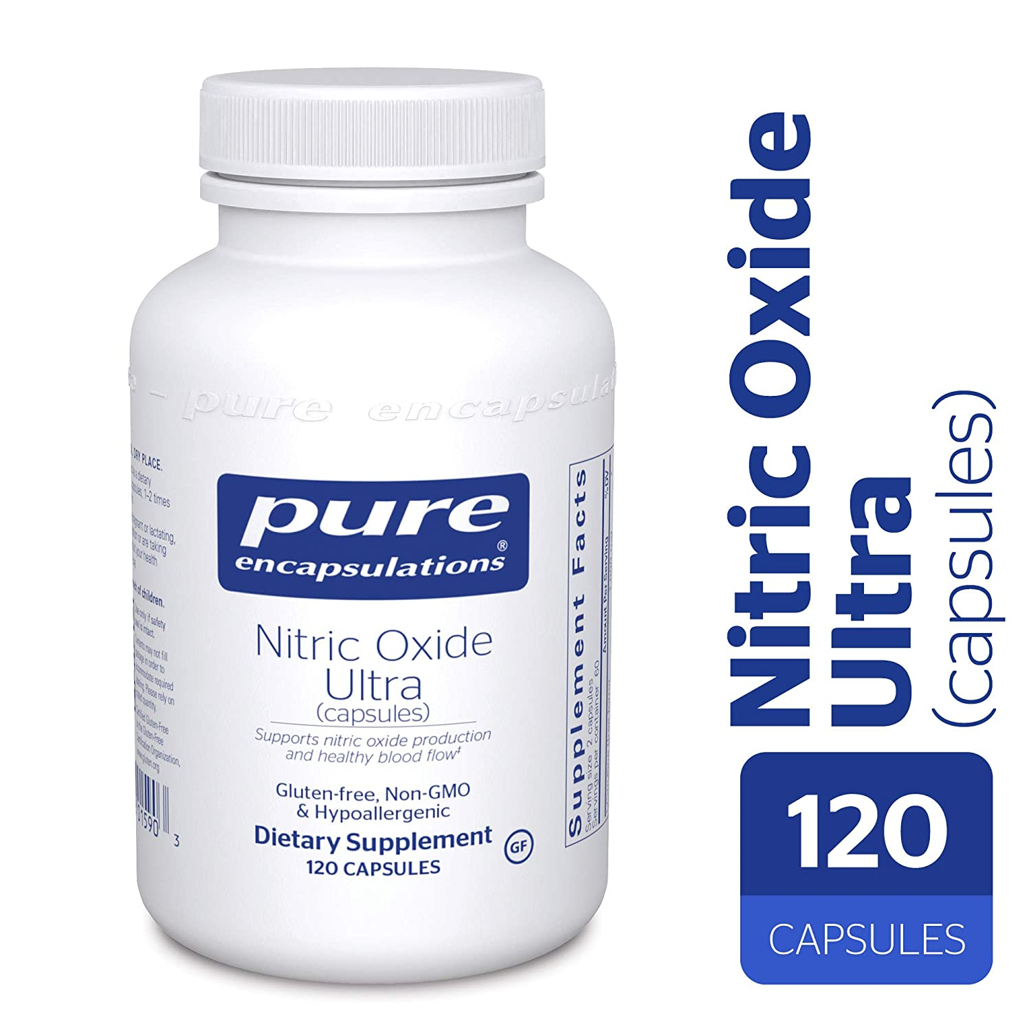 Pure Encapsulations – Nitric Oxide Ultra Capsules – Hypoallergenic Supplement Supports Nitric Oxide Production and Healthy Blood Flow* – 120 Capsules