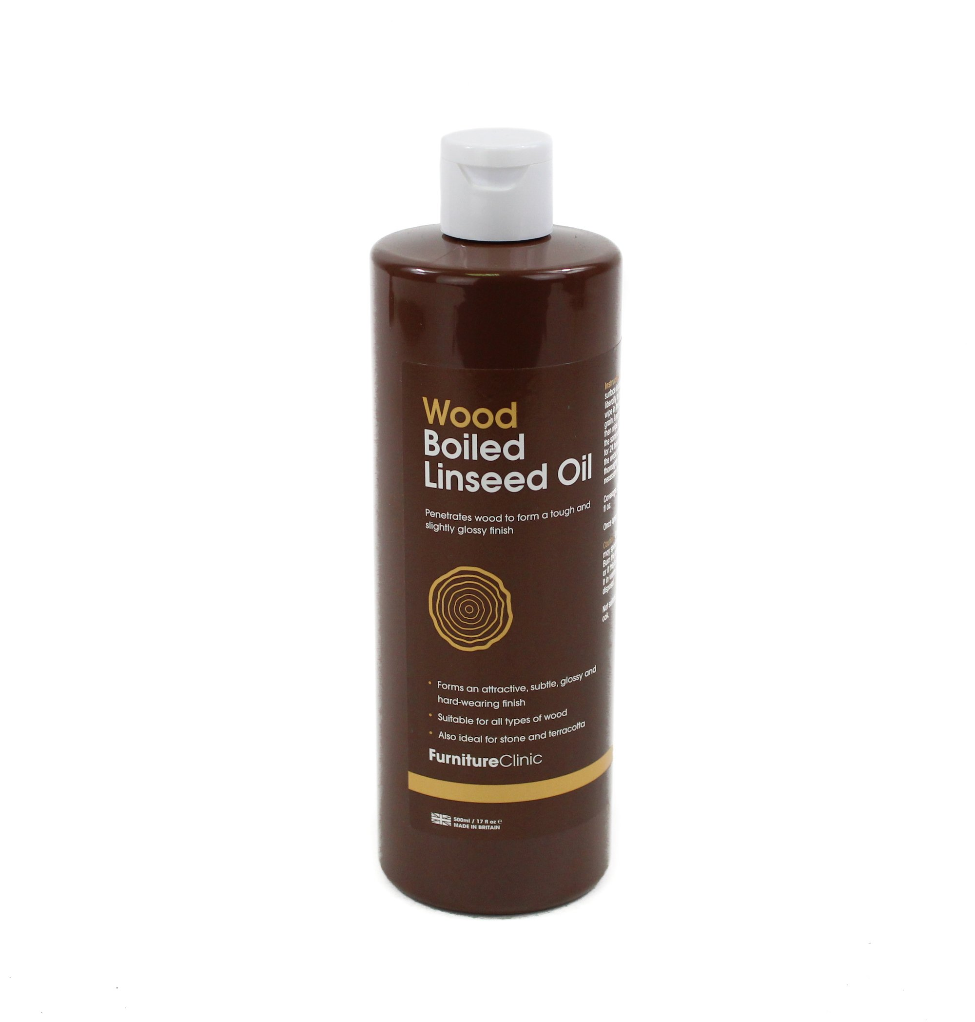 Furniture Clinic Boiled Linseed Oil for Wood Furniture & More   500ml Refined Oil   Glossy Finish for furniture, table tops, stone & metal