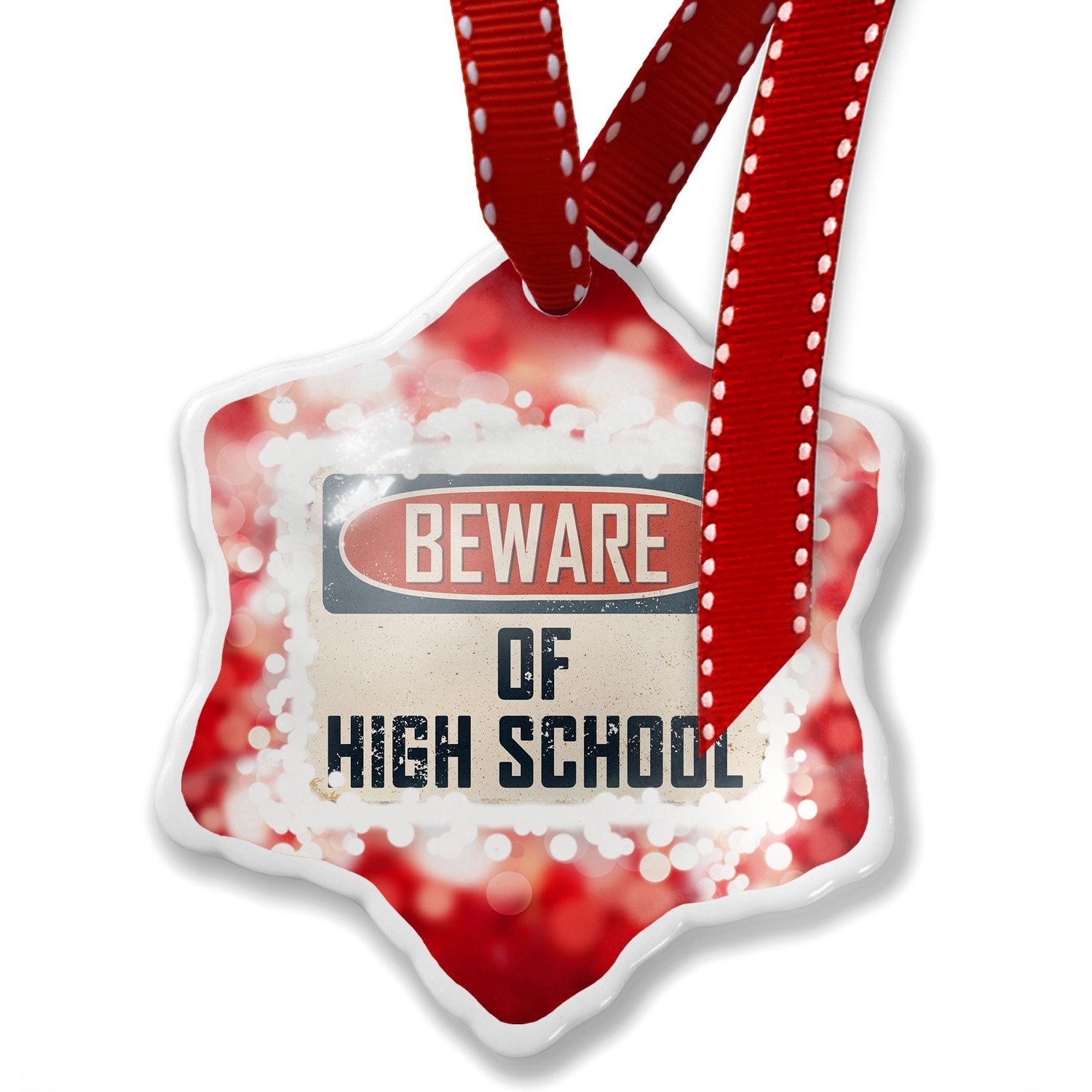 Christmas Ornament Beware Of High School Students Vintage Funny Sign, red - Neonblond
