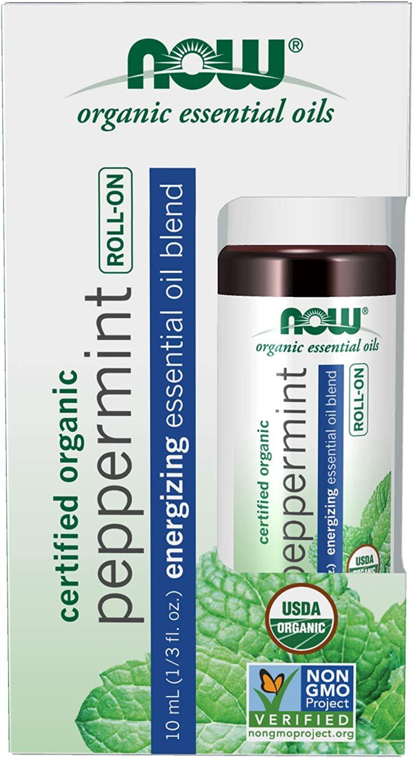 NOW Essential Oils, Peppermint Roll-On, Certified Organic, Energizing Blend, Steam Distilled, Topical Aromatherapy, 10-mL
