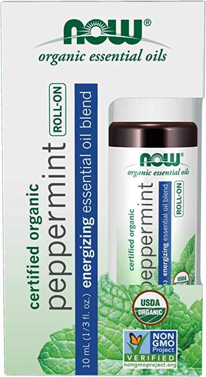 Amazon Com Now Essential Oils Peppermint Roll On Certified Organic Energizing Blend Steam Distilled Topical Aromatherapy 10 Ml Health Personal Care