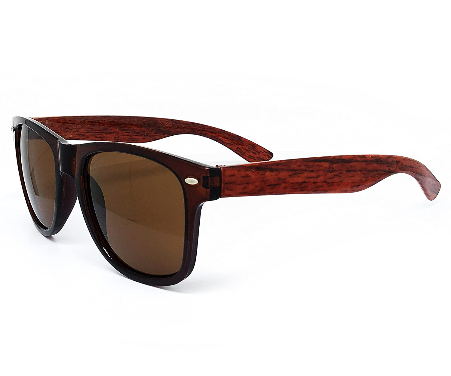 O2 Eyewear CH52 Faux Wood Reflective polished Horn Rimmed Womens Mens Funky Sunglasses