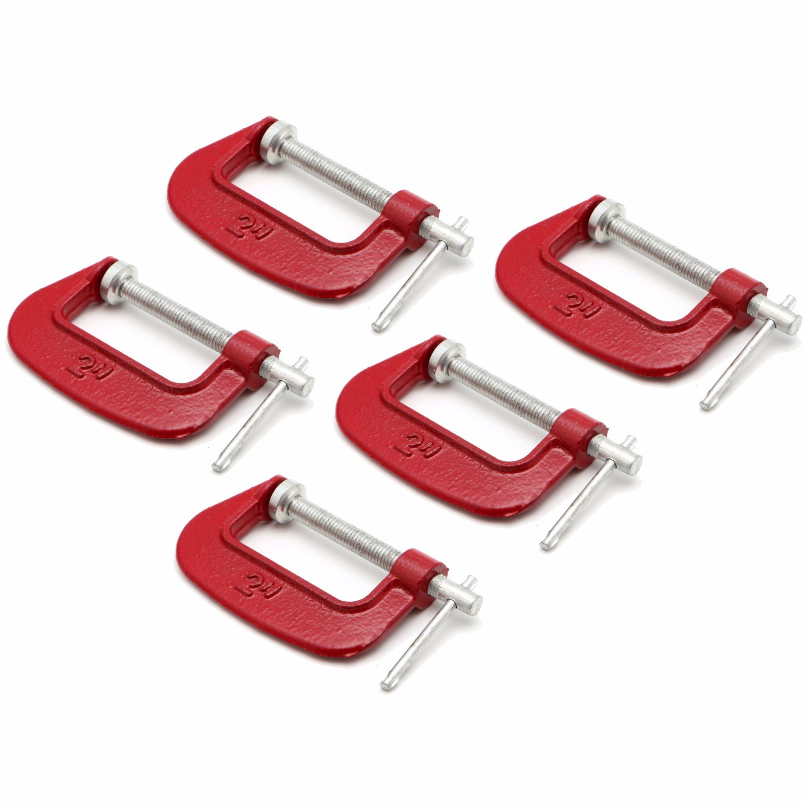 Wideskall 2'' x 1'' inch Heavy Duty Malleable C Clamp (Pack of 5)