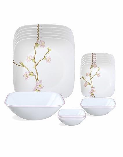 Corelle Cherry Blossom Glass Dinnerware Set 21-Pieces Multicolor  sc 1 st  Amazon.in & Buy Corelle Cherry Blossom Glass Dinnerware Set 21-Pieces ...