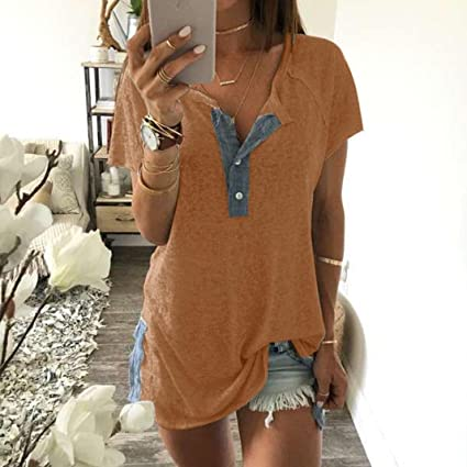 Blusa sexy mujer ❤ Amlaiworld Camisetas de manga corta de verano de mujeres Blusas suelta de botón Camiseta sin mangas camisola Cami Tops Camiseta de ...