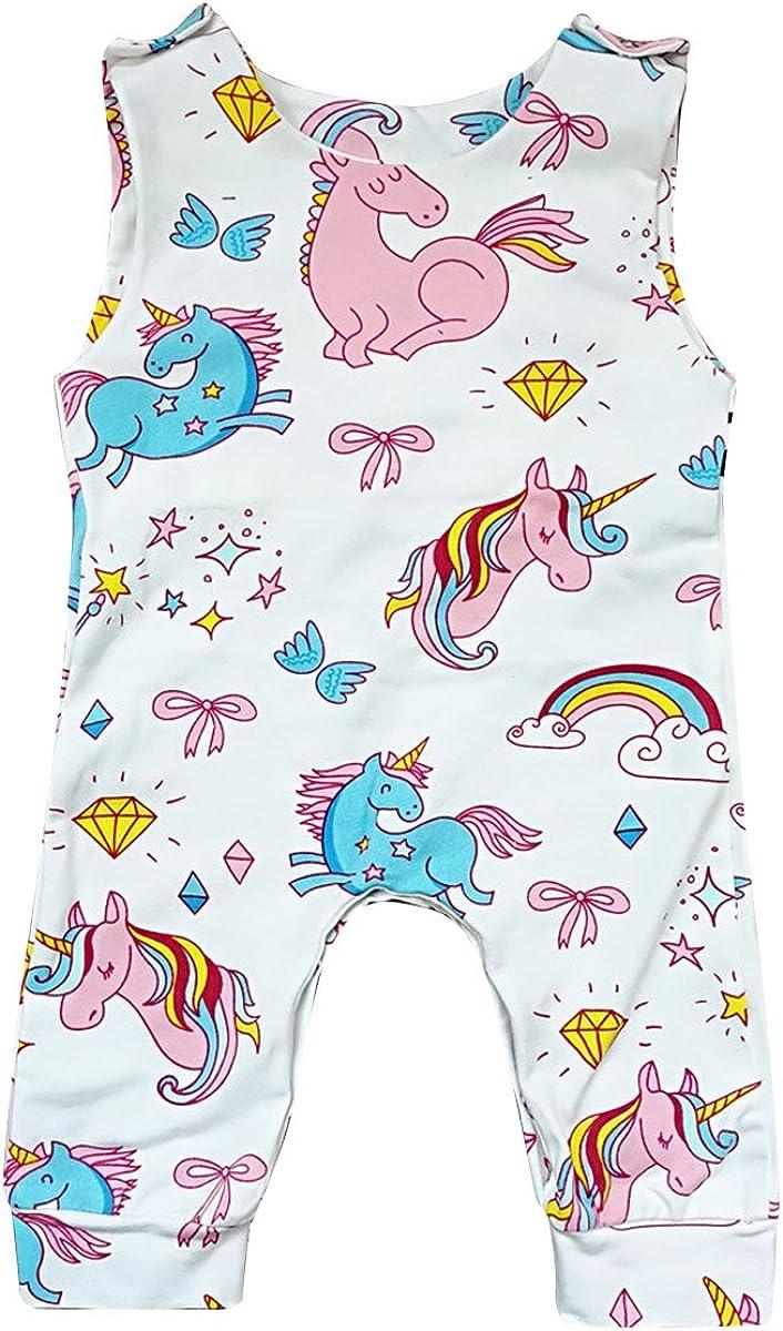 Borlai Newborn Infant Baby Girl Sleeveless Cute Pony Romper Jumpsuit Bodysuit Playsuit