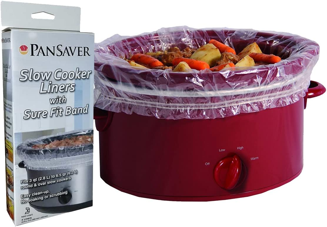 PanSaver 48 Pack Disposable Slow Cooker Liners Crockpot Liners Small Quart Cookers Liners with a Sure Fit Band - KOFK Certified Kosher