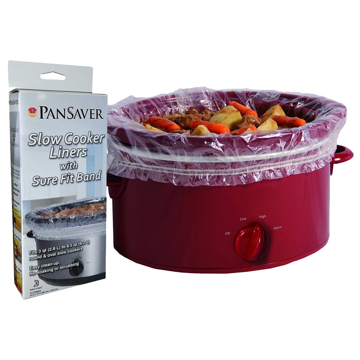 PanSaver 12 Pack Disposable Slow Cooker Liners Crockpot Liners Small Quart Cookers Liners with a Sure Fit Band - FDA certified, NSF approved, KOFK Certified Kosher by PanSaver