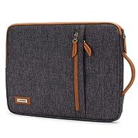 "LONMEN 13-13.3 inch Laptop Sleeve Waterproof Canvas Handbag for Apple MacBook Pro 13.3""/MacBook Air 13""/iPad Pro/13.5"" Surface Book Chromebook Notebook Carrying Case with Handle,Dark Grey"
