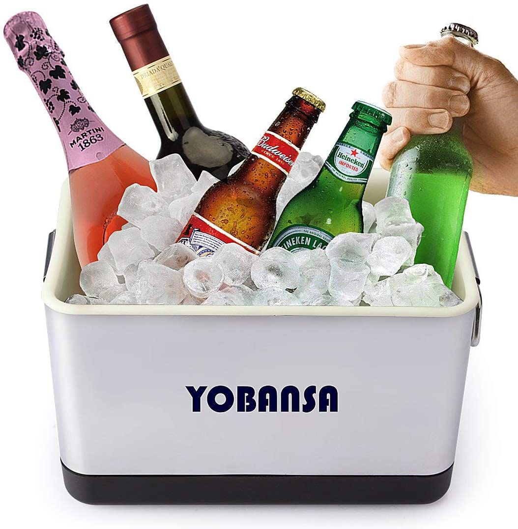 YOBANSA 6L Ice Bucket Champagne Bucket Wine Cooler Bucket,Large Ice Buckets Kitchen Fruits and Vegetable Storage Container Stainless Steel
