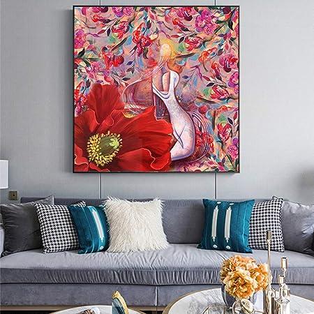 tzxdbh Pintura Abstracta de la Lona Flor roja Pintura al ...