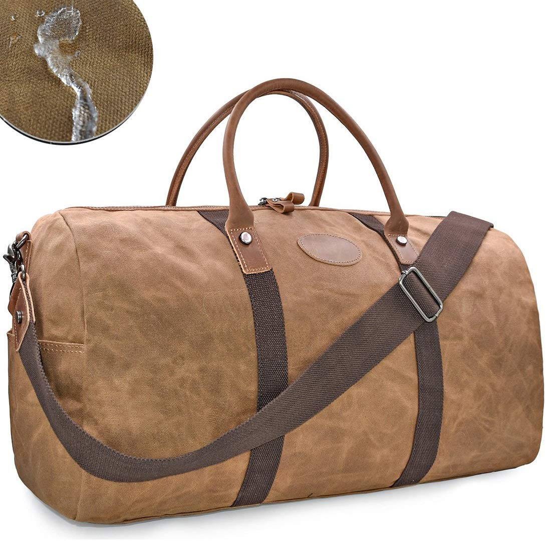 VOVIJ Waxed Canvas Waterproof Sports Gym Bag,with Shoes Compartment & Wet Pocket,45L (Color : Brown) by VOVIJ