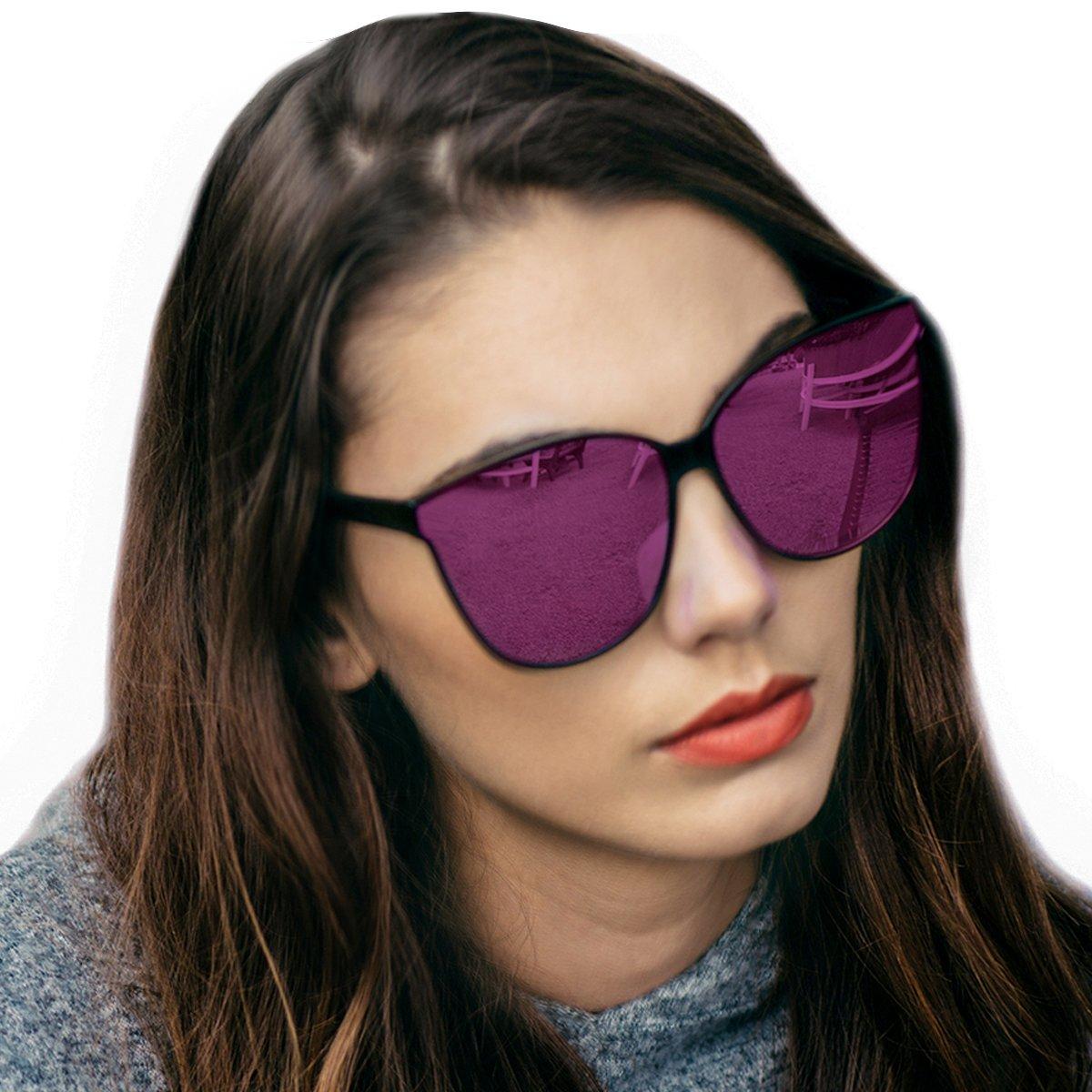 Cat Eyes Mirrored Sunglasses for Women, Polarized Oversized Fashion Vintage Eyewear for Driving Fishing UV400 Protection (Black2, Pink)