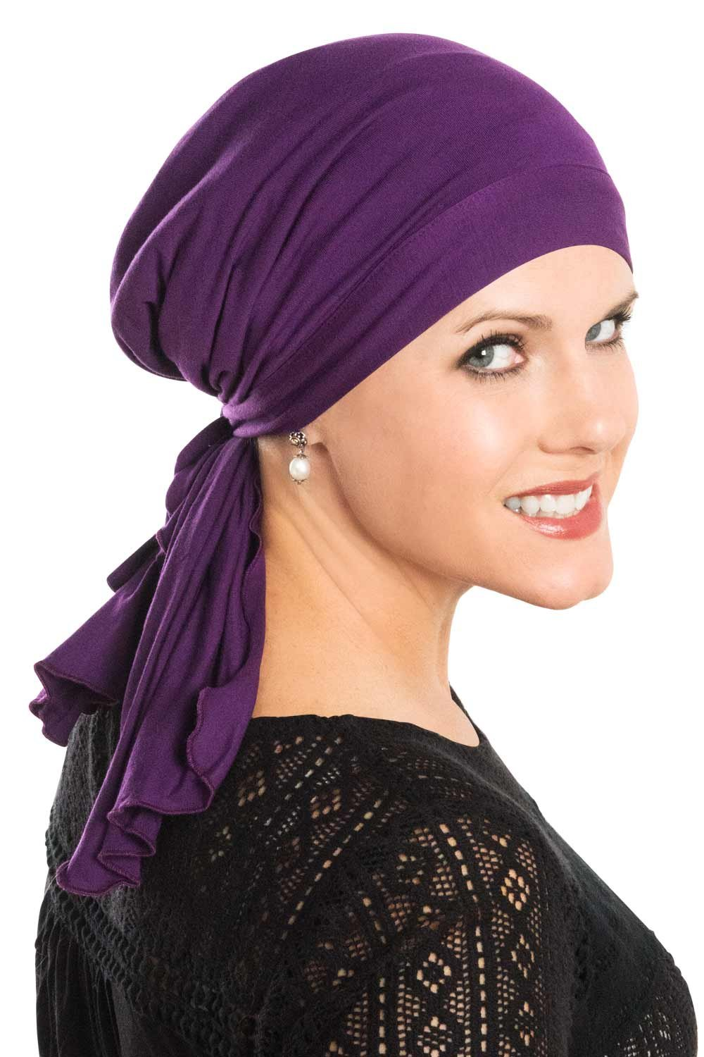 Cardani So Simple Scarf - Pre Tied Head Scarf for Women in Soft Bamboo - Cancer & Chemo Patients Luxury Bamboo - Plum