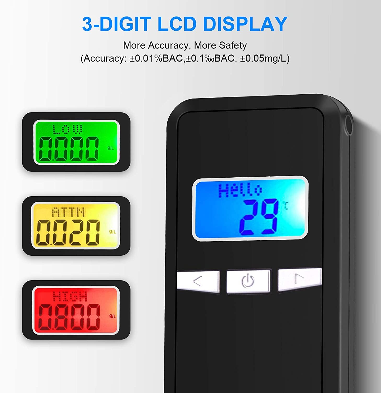 Kriogor Alcohol Tester 3 Digit Breath Alcohol Tester with 10 Mouthpieces and Carrying Bag Portable Breathalyzer with Digital LCD Display