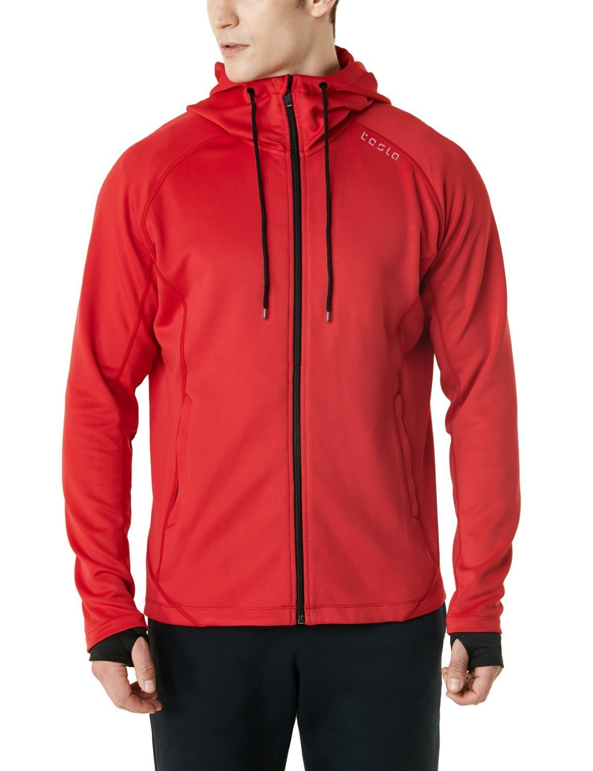 TSLA Men's Performance Active Training Full-Zip Hoodie Jacket, Active Fullzip(mkj03) - Crimson Red, X-Large by TSLA