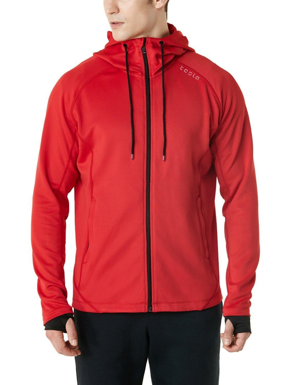TSLA Men's Performance Active Training Full-Zip Hoodie Jacket, Active Fullzip(mkj03) - Crimson Red, Small