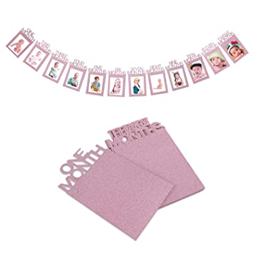 baby growth record 1-12 mouth photo ribbon banner for 1st birthday party Nice