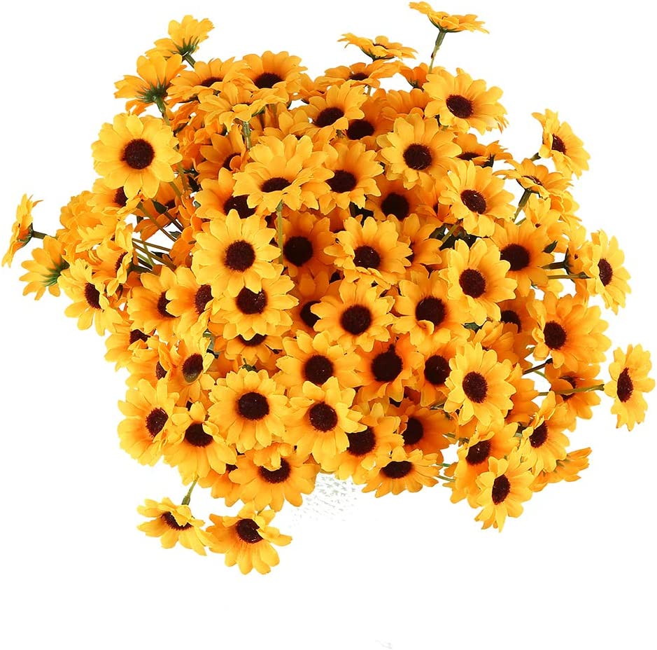 PLAZALA Christmas Decoration Sunflowers Artificial Flowers 10 Bouquets Mini Fake Flowers Bundles Floral for Indoor Outside Hanging Planter Home Garden Decoration (S)