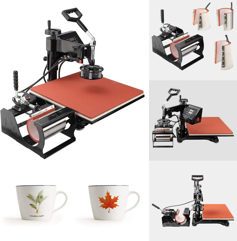 Hat//Cap Furgle Heat Press Machine 12x15 inch 5 in 1 T-Shirt Digital Printing Transfer Sublimation Machine 1050W with Clothes Mug Plate Press