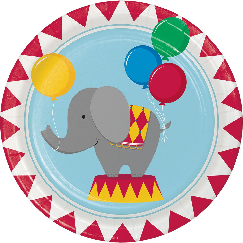 Creative Converting 96-Count Circus Time Round Dinner Birthday Party Paper Plates, Made in the USA by Creative Converting (Image #1)