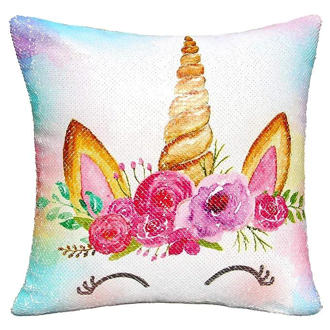 Amazon.com: MHJY Funda de almohada de unicornio, con ...