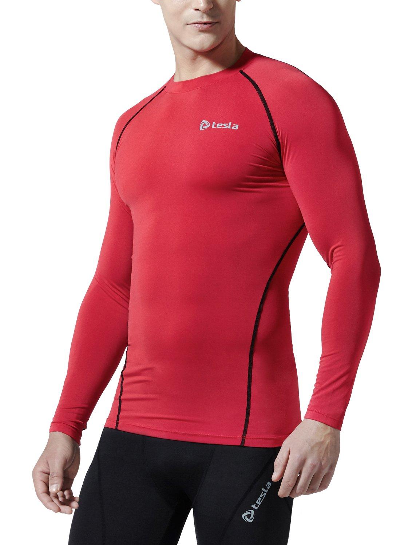 (テスラ)TESLA オールシーズン 長袖 ラウンドネック スポーツシャツ [UVカット吸汗速乾] コンプレッションウェア パワーストレッチ アンダーウェア R11 / MUD01 / MUD11 B01ESQSSVE M|TM-R11-RDKZ TM-R11-RDKZ M