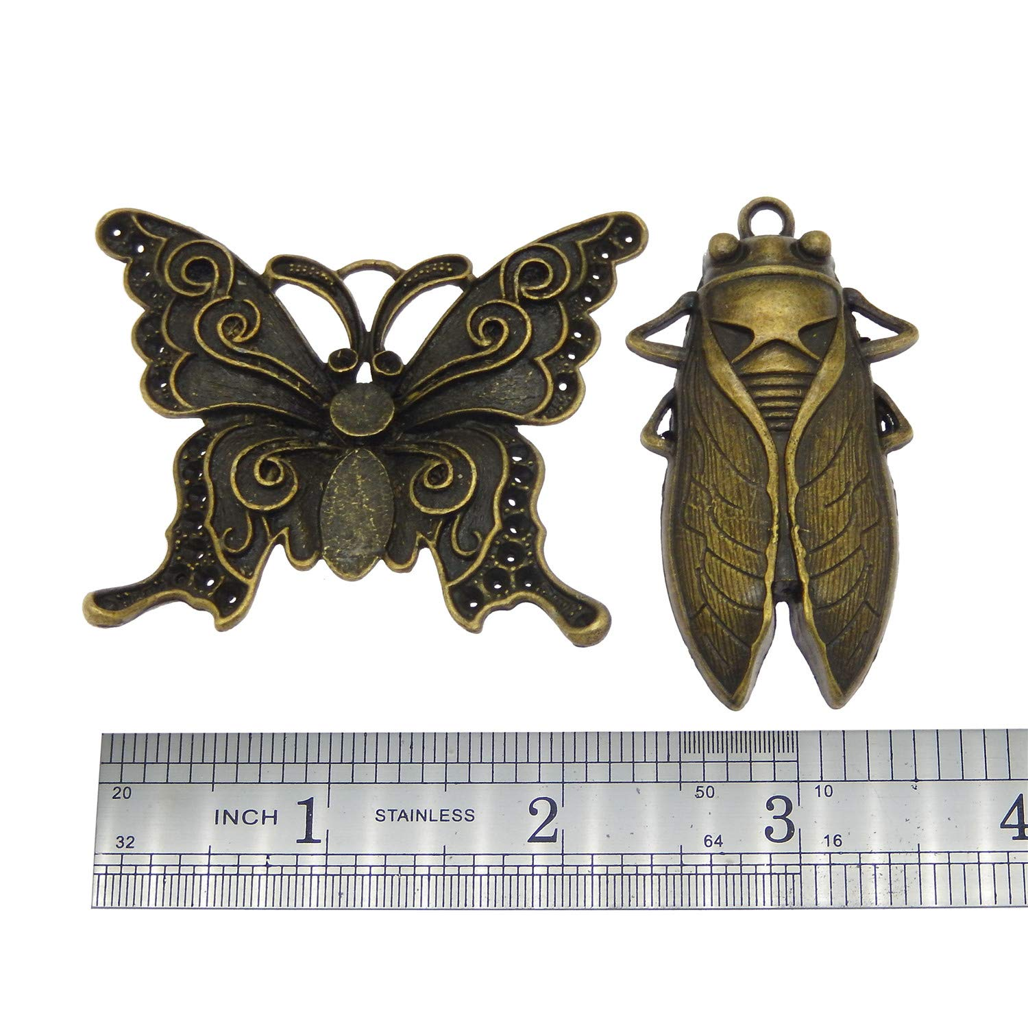 GraceAngie Wholesale 20 piece//pack Mixed Vintage Style Butterfly Animals Dragonfly Insects Charms Pendants for Necklace Bracelets Jewelry Making DIY Handmade Antique Silver