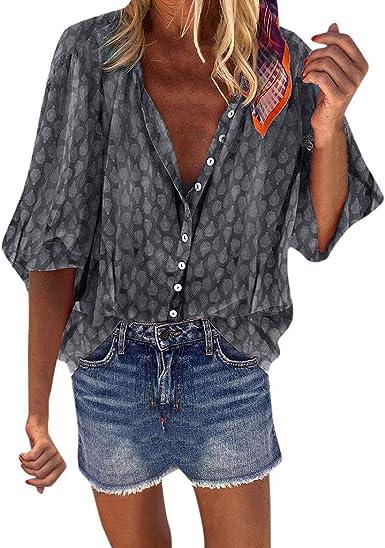 Camisa Suelta Boho para Mujer Talla Grande Casual Cuello en V 3/4 de Manga Larga Camisas Lunares Blusas de otoño Blusa Gris XXXXL: Amazon.es: Ropa y accesorios