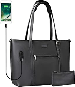 Woman Laptop Tote Bag,USB Teacher Bag Large Work Bag Purse Fits 15.6 in Laptop (Leather Black)