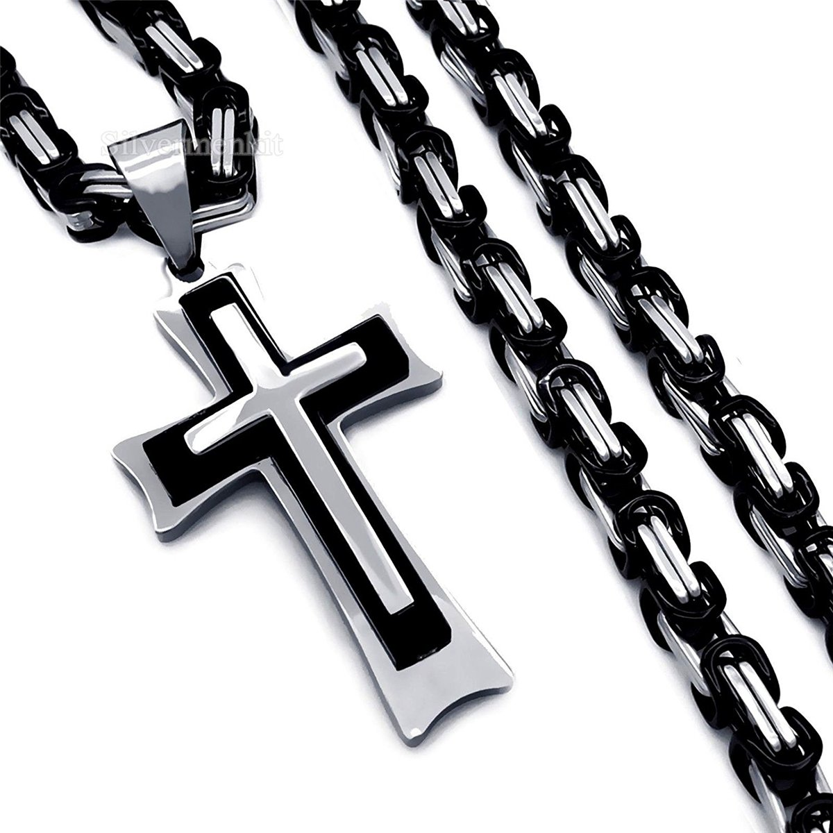 Cool Men's Stainless Steel Cross Pendant Necklace 4mm Silver Black Byzantine Chain 18-36 inches (18'')